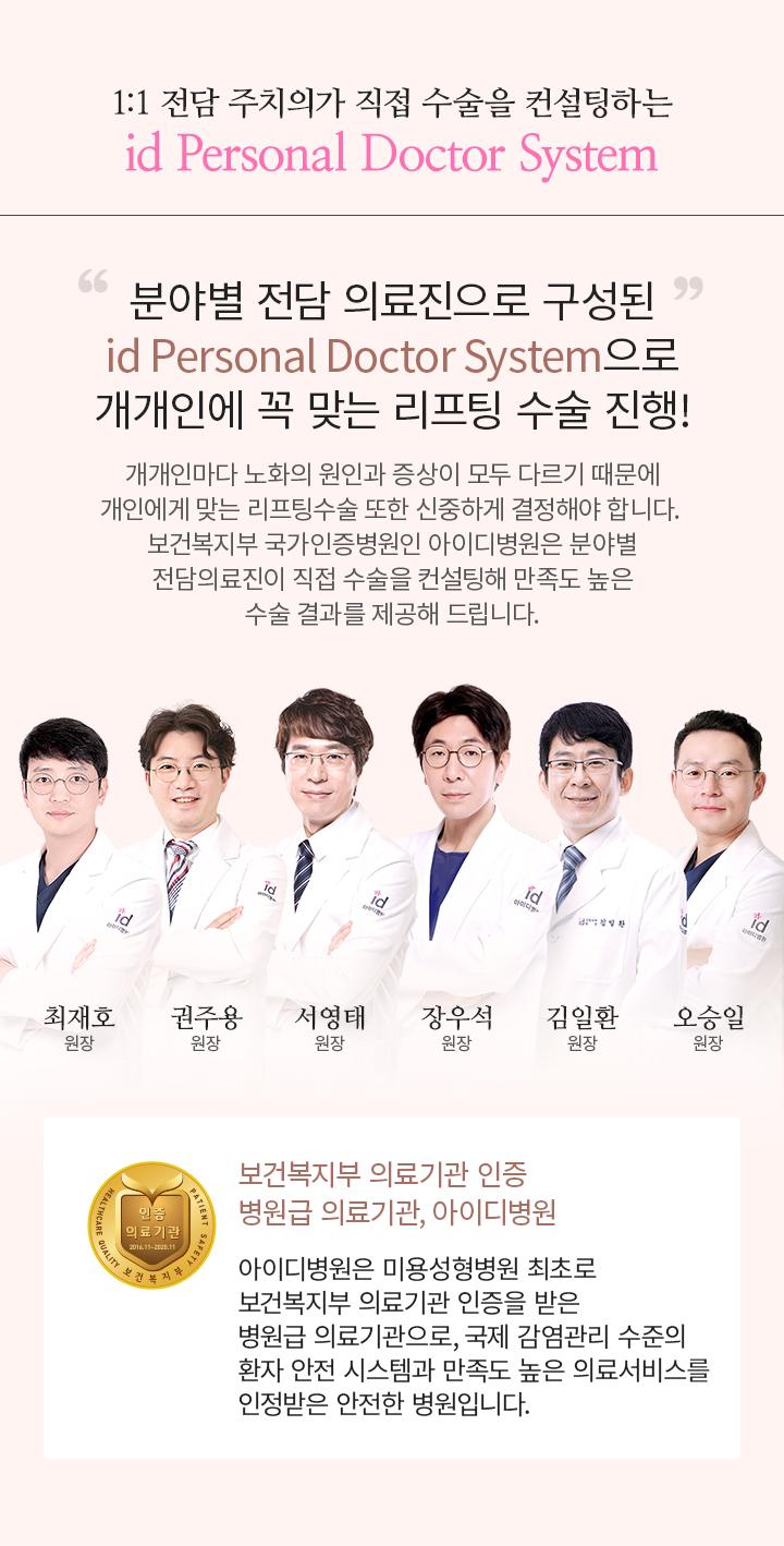1:1 전담 주치의가 직접 수술을 컨설팅하는 id Personal Doctor System